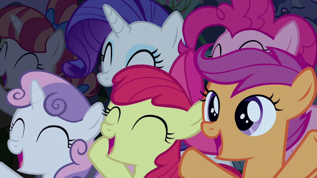 File:Rarity, Pinkie, and CMC cheering for Rara S5E24.png