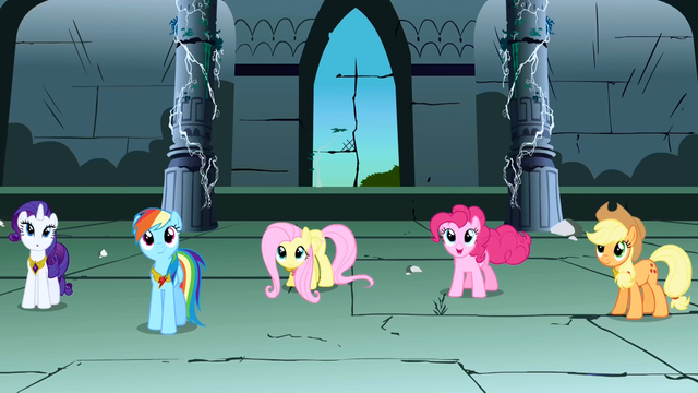 File:Rarity, Rainbow Dash, Fluttershy, Pinkie Pie, Applejack panning shot S1E2.png