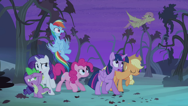 File:Flutterbat flying past ponies S4E07.png
