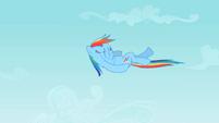 Rainbow Dash doing a backstroke in midair S2E07