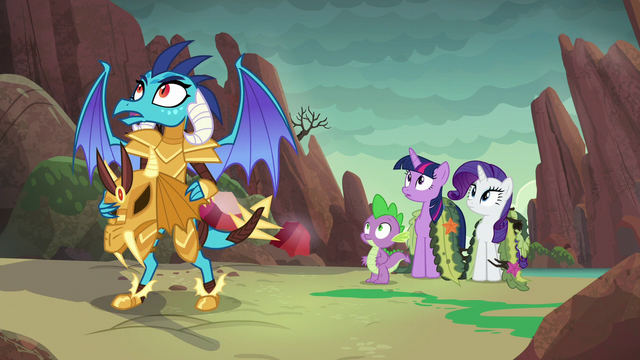 File:Ember, Spike, Twilight, and Rarity hear dragon's grunt S6E5.png
