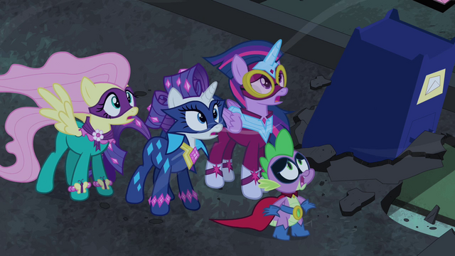 File:Power Ponies and Spike look worried S4E06.png