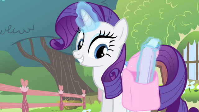 File:Rarity levitating a flyer from her saddlebag S4E14.png