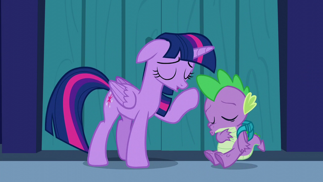 "File:Twilight and Spike ""phew!"" S5E26.png"