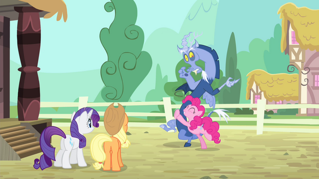 File:Pinkie Pie hugs Discord S4E11.png