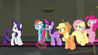 Mane Six look toward the boutique's front door S6E9