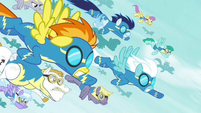 File:Wonderbolts and Pegasi flying toward Tirek S4E25.png