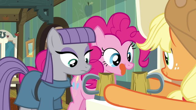 File:AJ giving Maud and Pinkie each a cup of cider S4E18.png