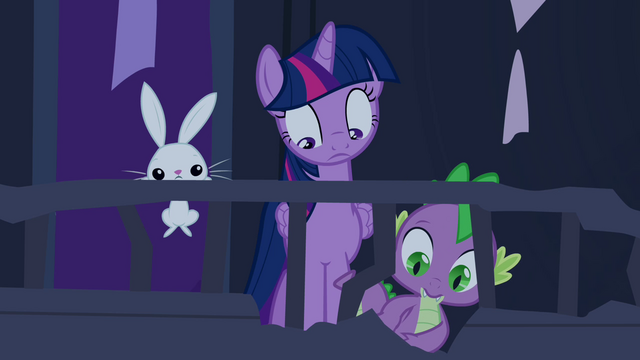 File:Twilight, Spike & Angel looking down S04E03.png