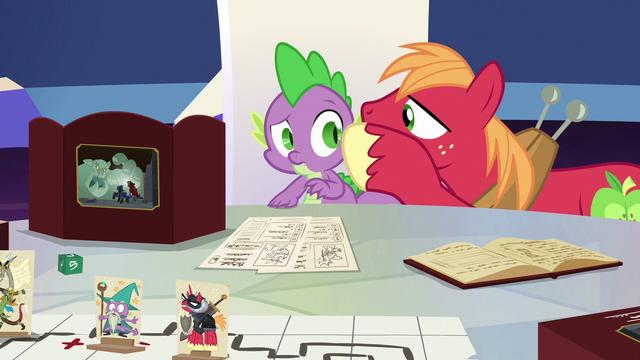 File:Big Mac whispering to Spike again S6E17.png