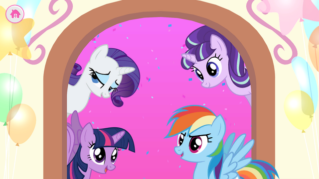File:MLP Friendship Celebration app - Rarity, Twilight, Starlight, and Rainbow.png