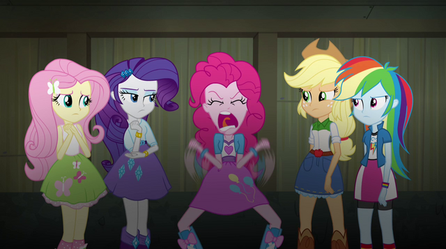 "File:Pinkie ""It's the exact opposite of being in the Rainbooms!"" EG2.png"