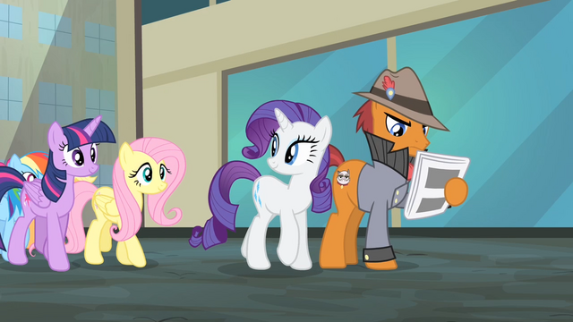 File:Rarity about to bump into a pony reading newspaper S4E08.png