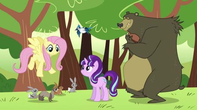File:Starlight, Fluttershy, and animal friends S5E26.png