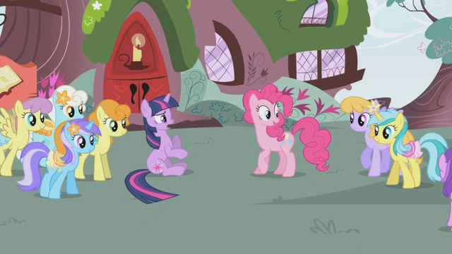 File:Pinkie clues the other ponies in S1E03.png