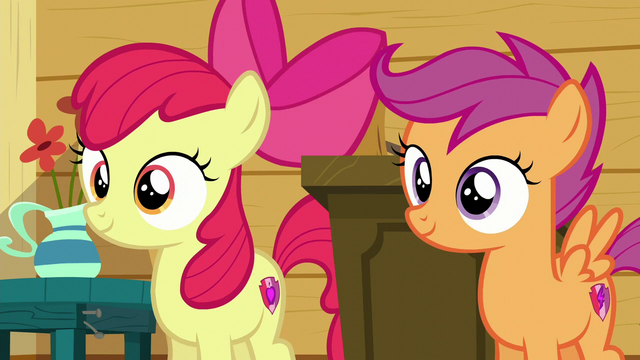 File:Apple Bloom and Scootaloo hear Sweetie Belle S6E4.png