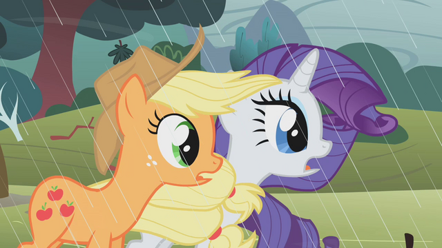 File:Applejack and Rarity stunned S1E8.png