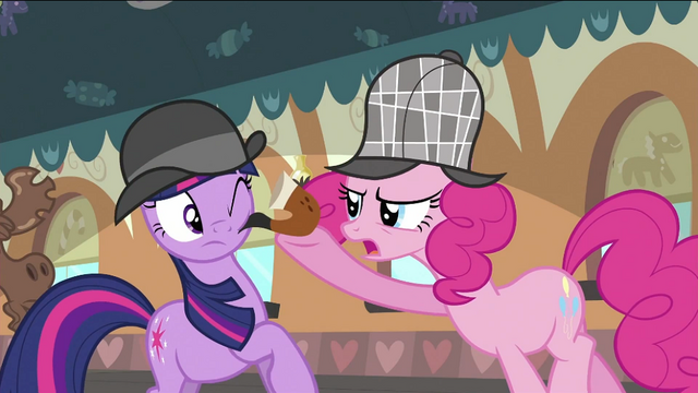 File:Pinkie Pie putting pipe at Twilight's cheek S2E24.png