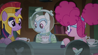 RD, Twilight, and Pinkie sit at the table S5E21