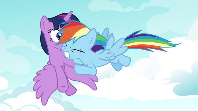File:Rainbow Dash shoving Twilight S4E21.png