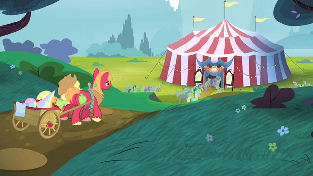 File:Applejack and Big Mac walking towards the tent S4E20.png