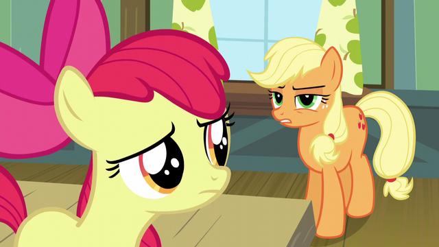 File:Applejack suspicious of Apple Bloom S5E4.png