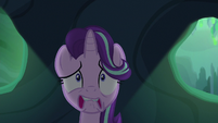 Starlight Glimmer fearfully hiding from Chrysalis S6E26