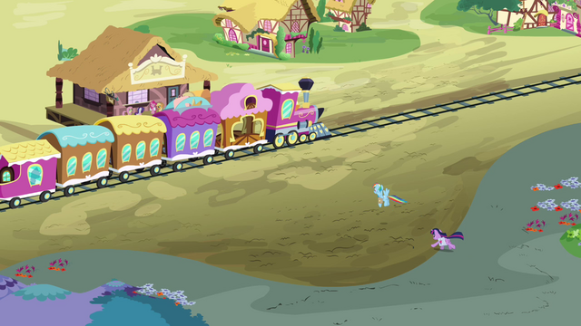 File:Twilight and Rainbow race to the station S3E12.png