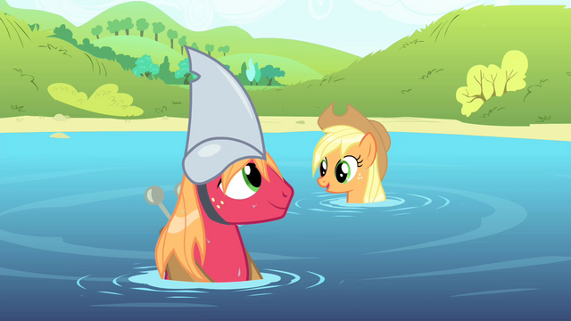 File:Big Mac wearing a fake shark fin on his head S4E20.png