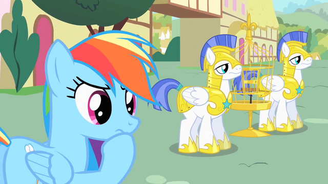 File:Rainbow Dash contemplating final prank on royal guards S1E22.png