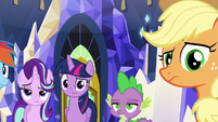 Applejack giving Rarity a weird look S6E12