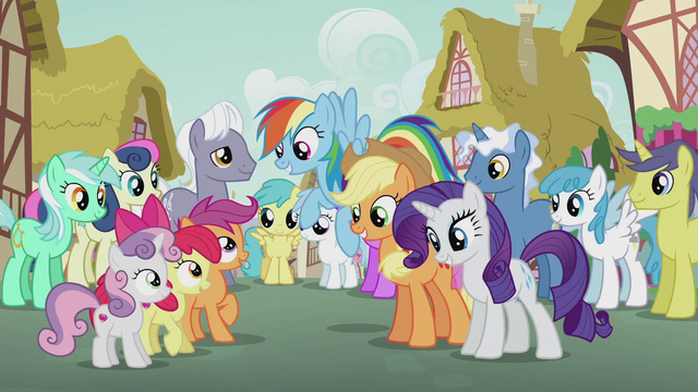 File:Rainbow, Applejack, and Rarity sing to CMC S5E18.png