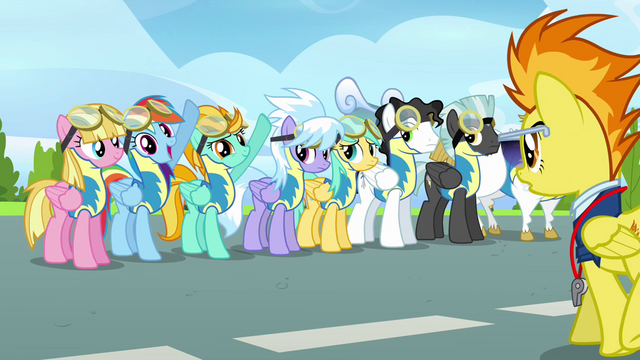 File:Rainbow and Lightning Dust put their hooves up S3E7.png