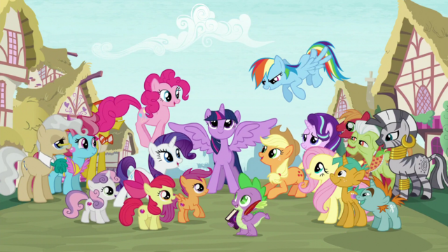 File:Supporting characters gather around Twilight S6 opening.png