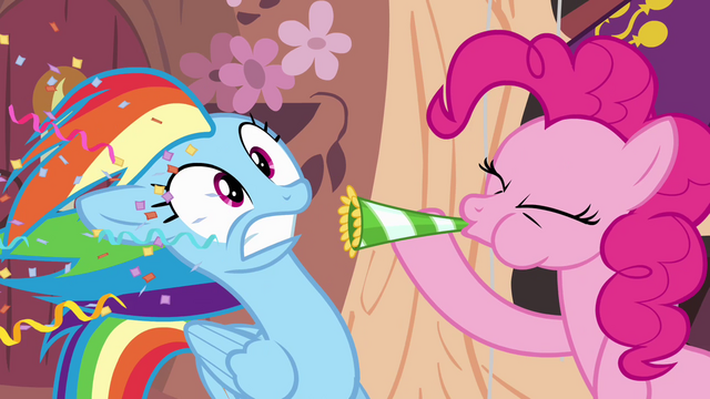 File:Pinkie Pie blows party horn in Rainbow's face S4E04.png