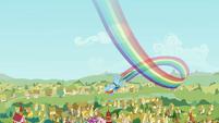 Rainbow Dash flies over Ponyville S2E22