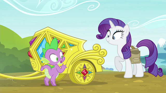 File:Spike next to Rarity's jeweled chariot S4E23.png