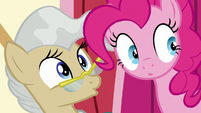 Pinkie and Mayor Mare hear Twilight S5E19