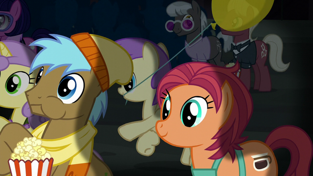 File:Manehattan ponies watching the play together S5E16.png