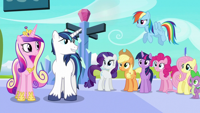 File:Shining and Cadance looks at Mane 6 and Spike S6E2.png