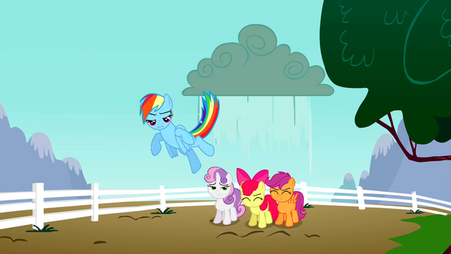 File:Rainbow Dash makes rain fall on the CMC S2E23.png