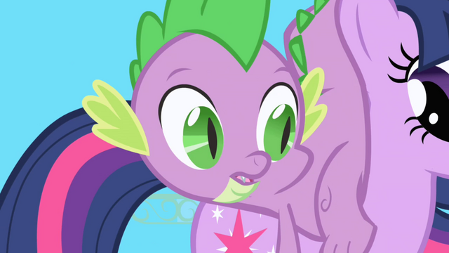 File:Spike lands on Twilight's back S1E01.png