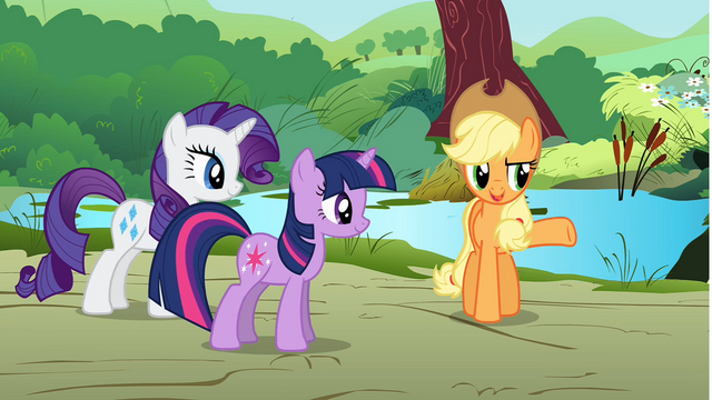 File:Applejack giving orders to Rarity and Twilight S01E10.png