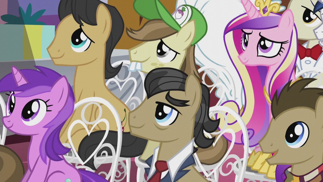 File:Assorted ponies listening to the mayor S5E9.png