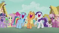 Rainbow, Applejack, and Rarity singing S5E18