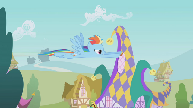 File:Rainbow Dash flying over Ponyville S1E05.png