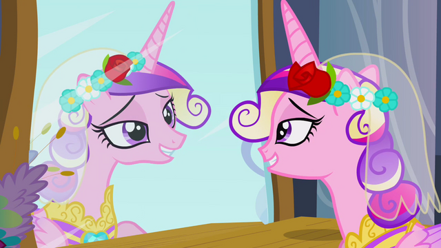 File:Chrysalis as Cadance looking at mirror S2E26.png