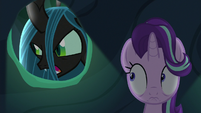 Queen Chrysalis searching for Starlight Glimmer S6E26