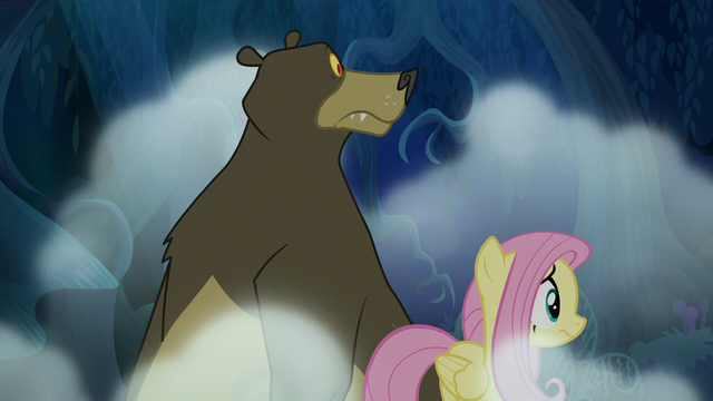 File:Fluttershy and Harry looking nervous S6E15.png