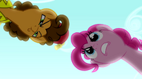 Pinkie Pie staring down Cheese Sandwich S4E12